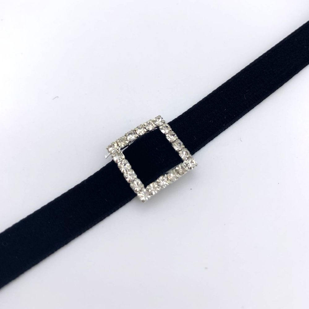 Clear Square Rhinestone Ribbon Buckles / Sliders