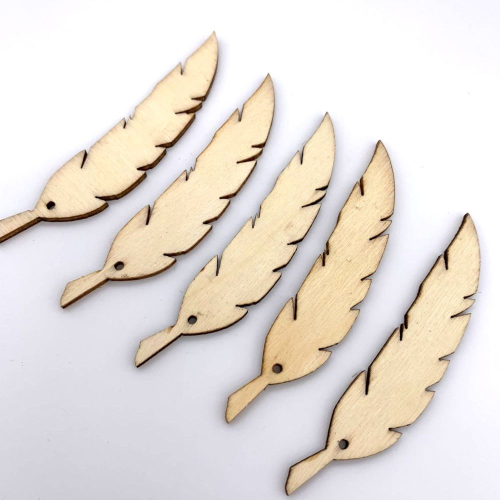 Wooden Feather Embellishments
