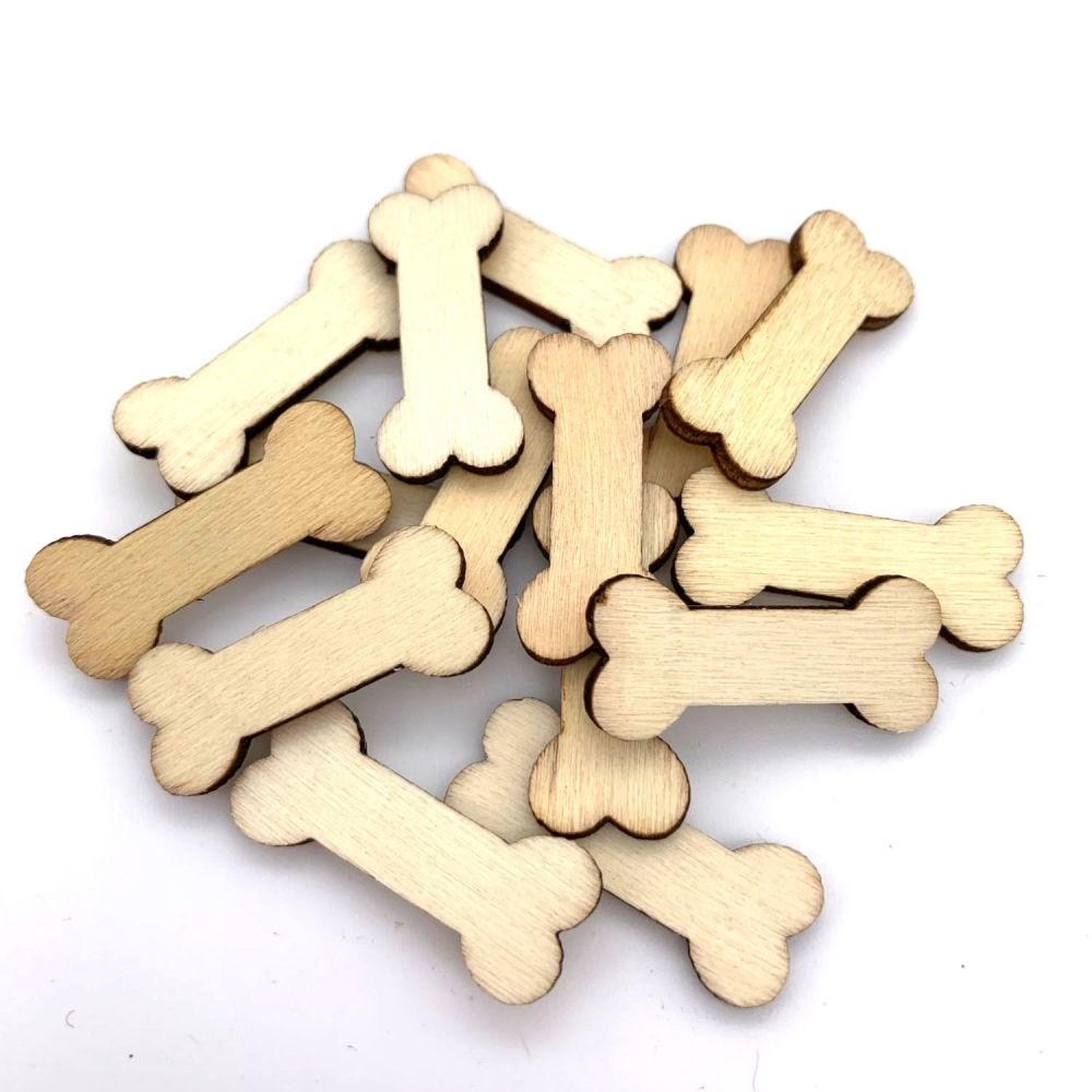 Wooden Dog Bone Shapes (10 pack)