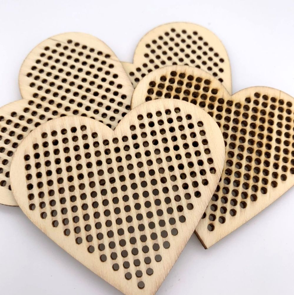Wooden Cross Stitch Base - Large Heart