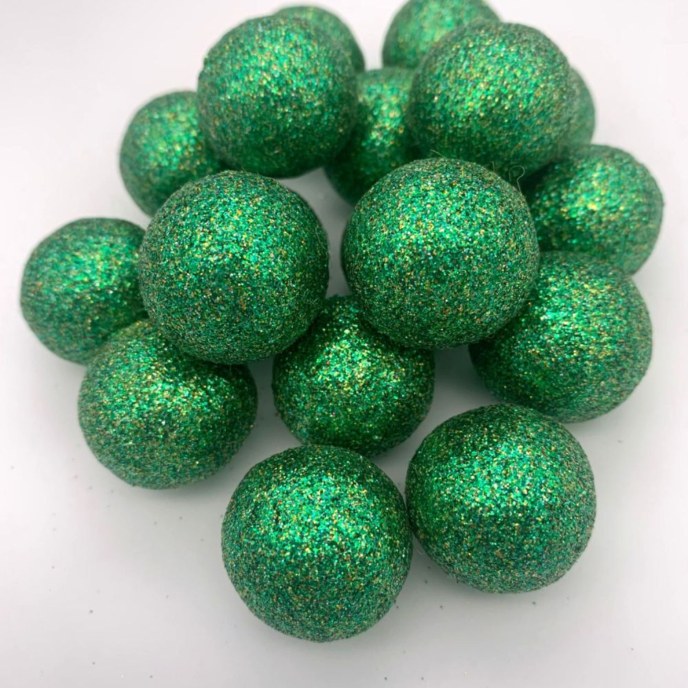 Glitter Felt Balls - Metallic Yellow Green