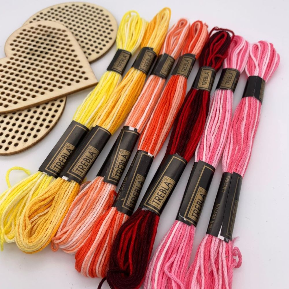 Variegated Embroidery Threads - Yellows/Pinks/Reds - Sold individually