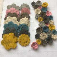 100% Wool - Mottled Melange - Felt Flowers DIY Kit-Set of 28