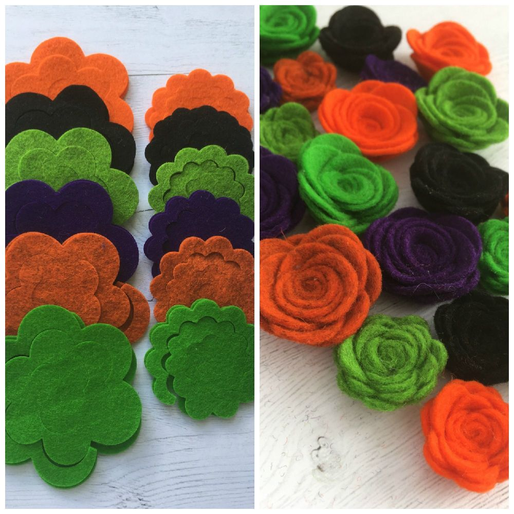 100% Wool - Halloween - Felt Flowers DIY Kit-Set of 24