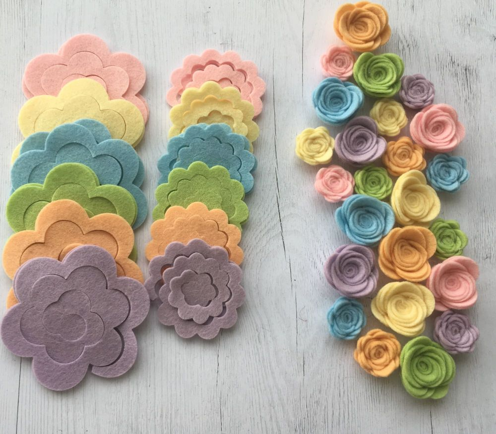 100% Wool - Pastel Spring - Felt Flowers DIY Kit-Set of 24