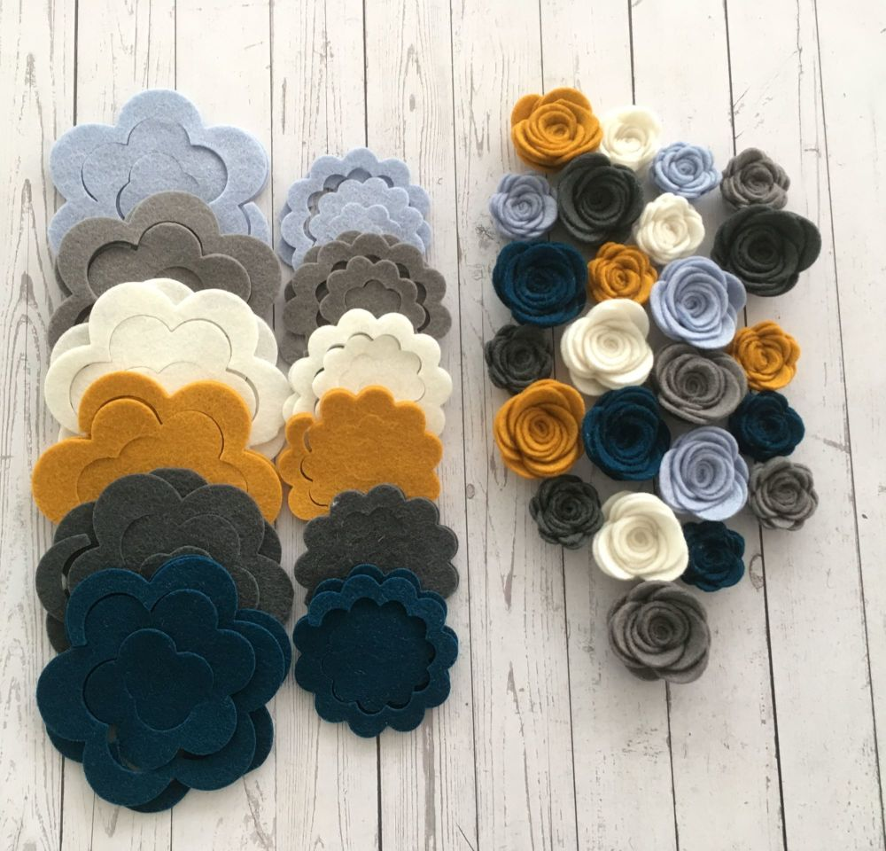 100% Wool - Retro - Felt Flowers DIY Kit-Set of 24
