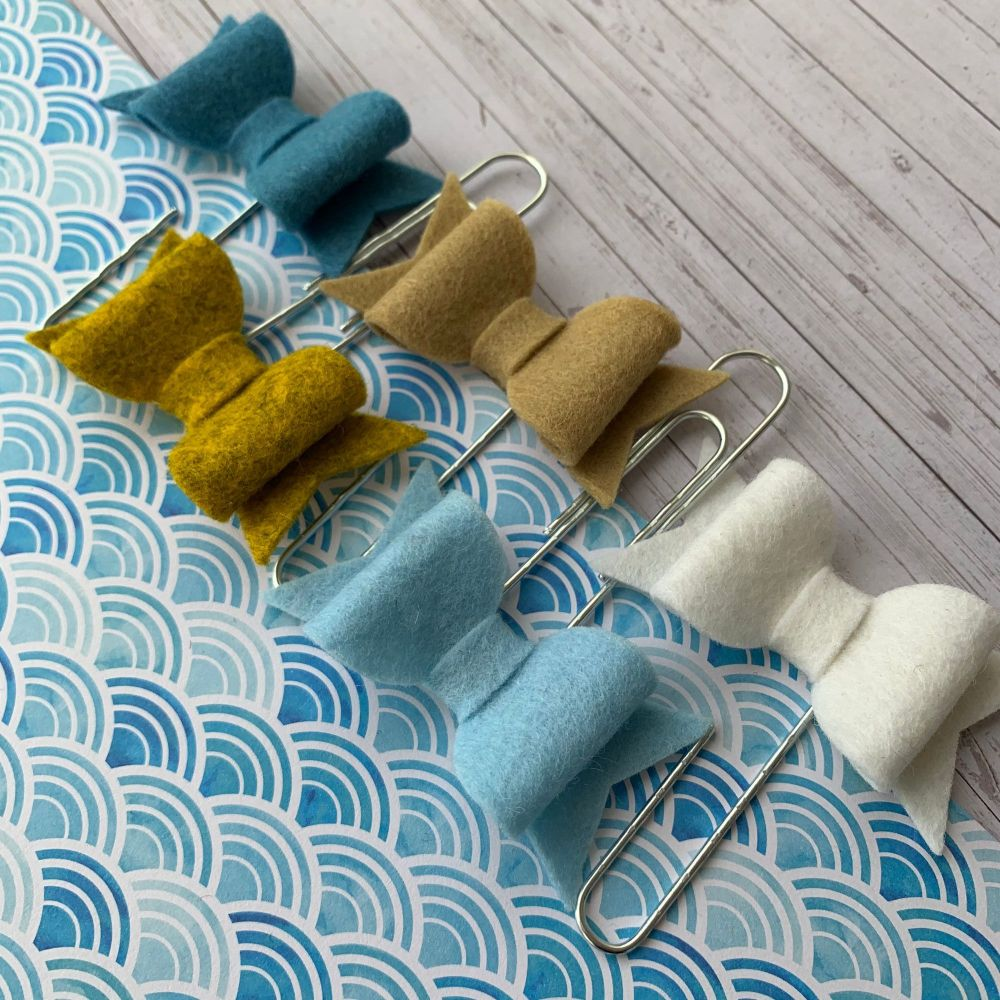 100% Wool Felt Bow Paperclips - By the Sea (Set of 5)