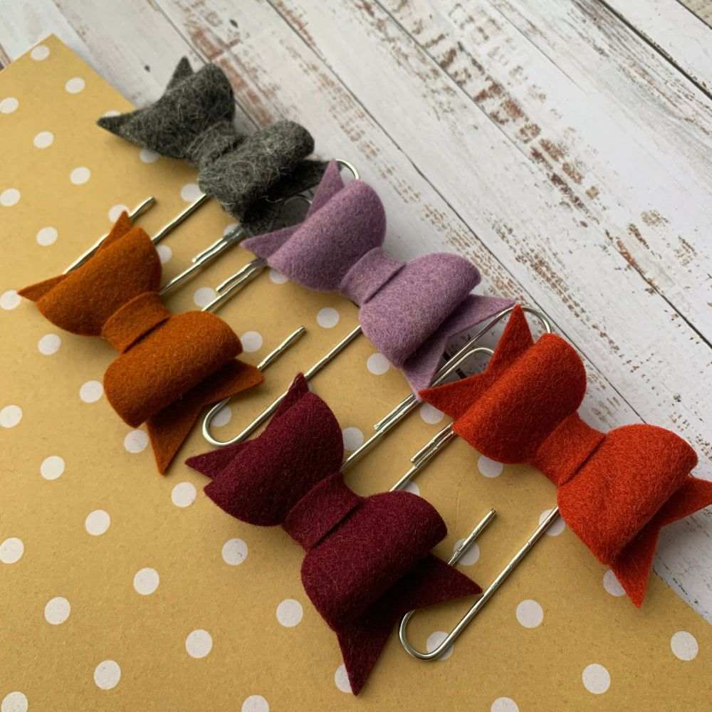 100% Wool Felt Bow Paperclips - Muted Autumn (Set of 5)