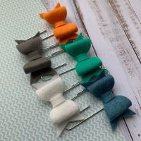 100% Wool Felt Bow Paperclips - Alice (Set of 5)