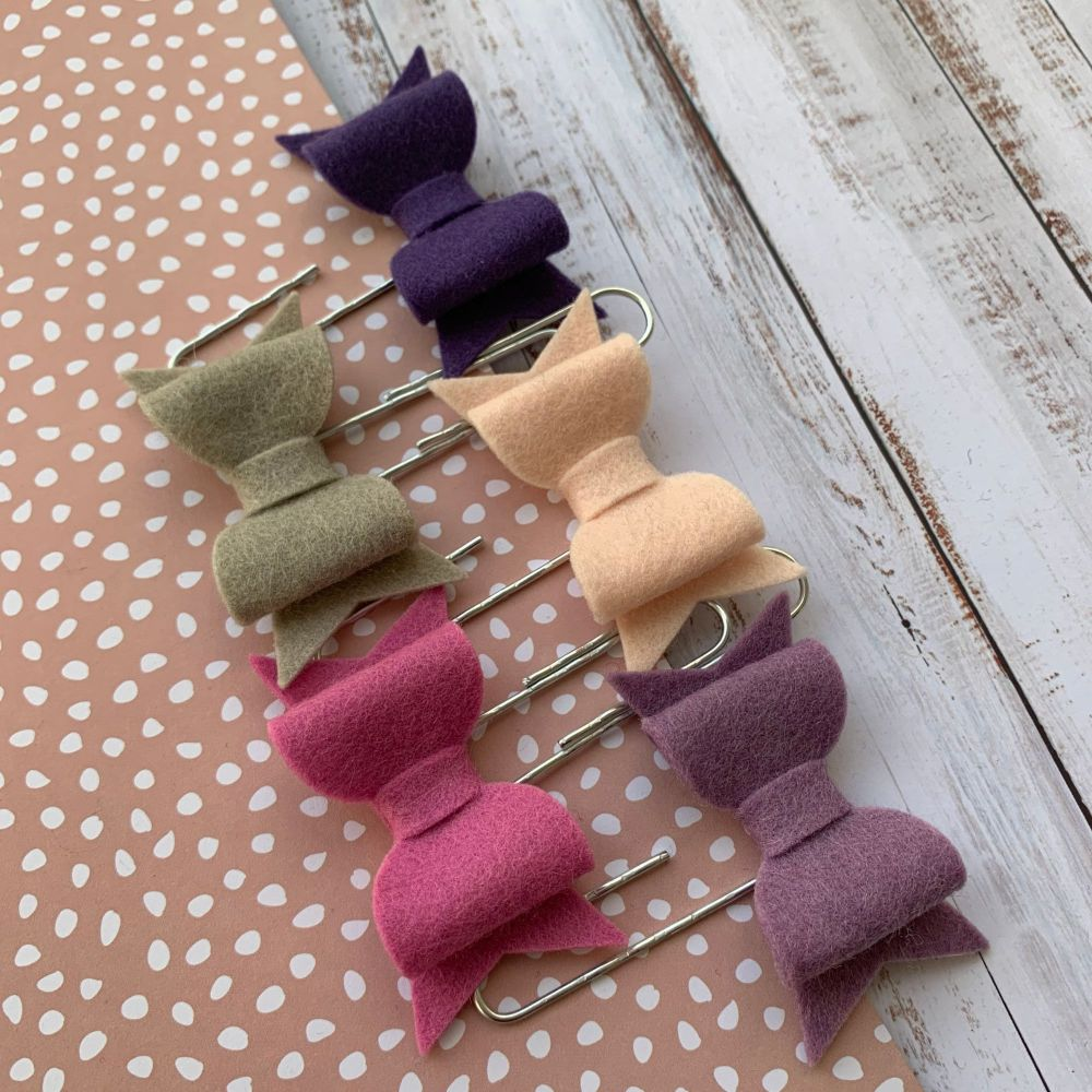 100% Wool Felt Bow Paperclips - Chloe (Set of 5)