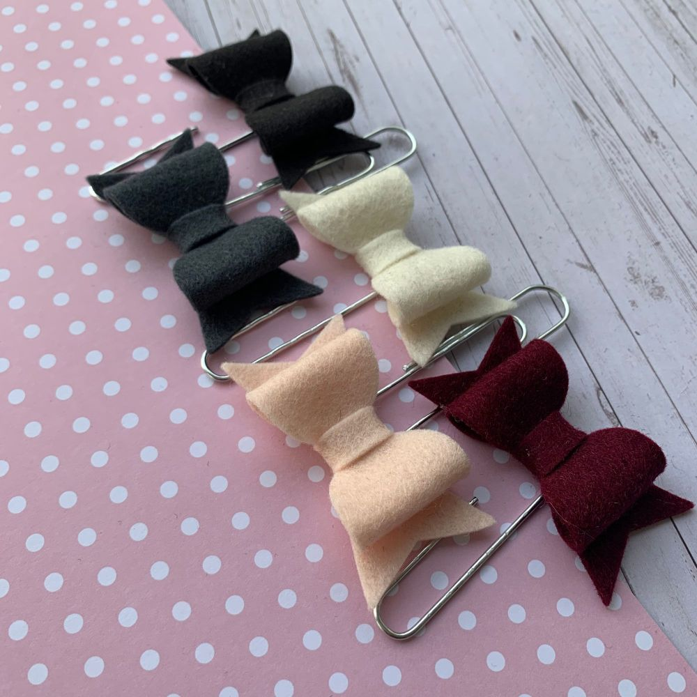 100% Wool Felt Bow Paperclips - Dramatic Romance (Set of 5)