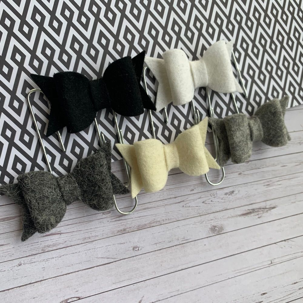 100% Wool Felt Bow Paperclips - Monochrome (Set of 5)