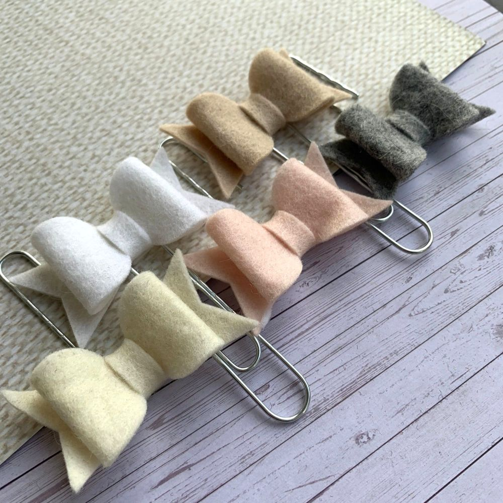 100% Wool Felt Bow Paperclips - Pure (Set of 5)