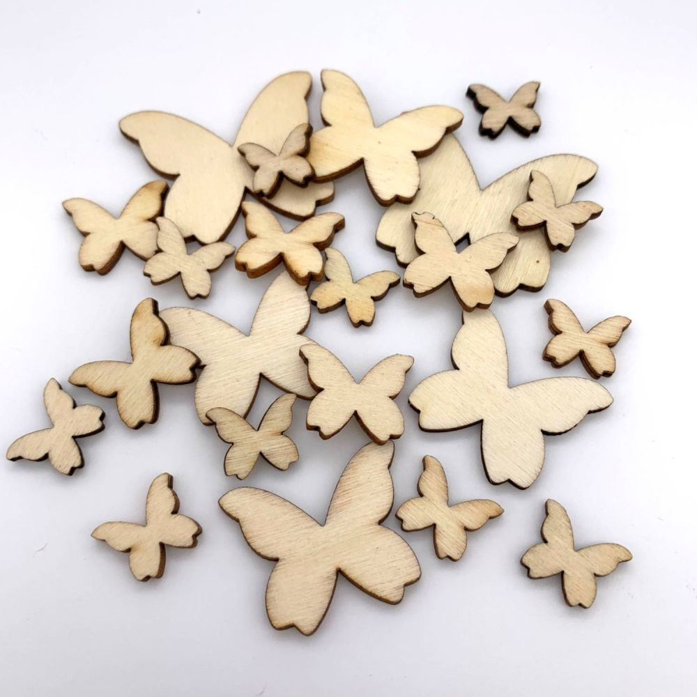 Mixed Wooden Butterflies (22 pack)