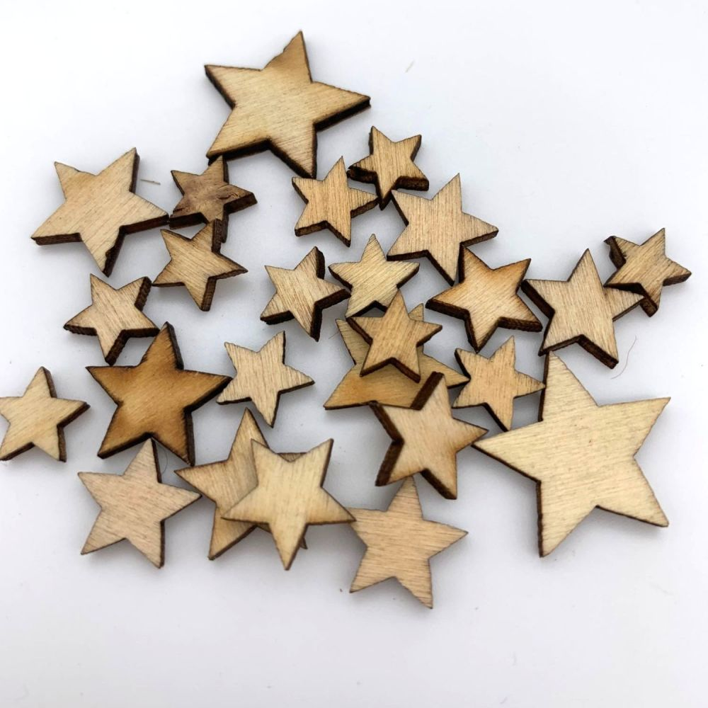 Mixed Wooden Stars (25 pack)