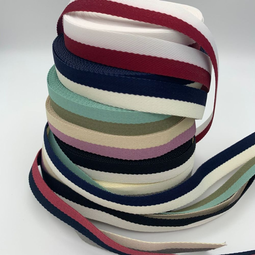 Double Stripe Cotton Twill Ribbon - 7 colours