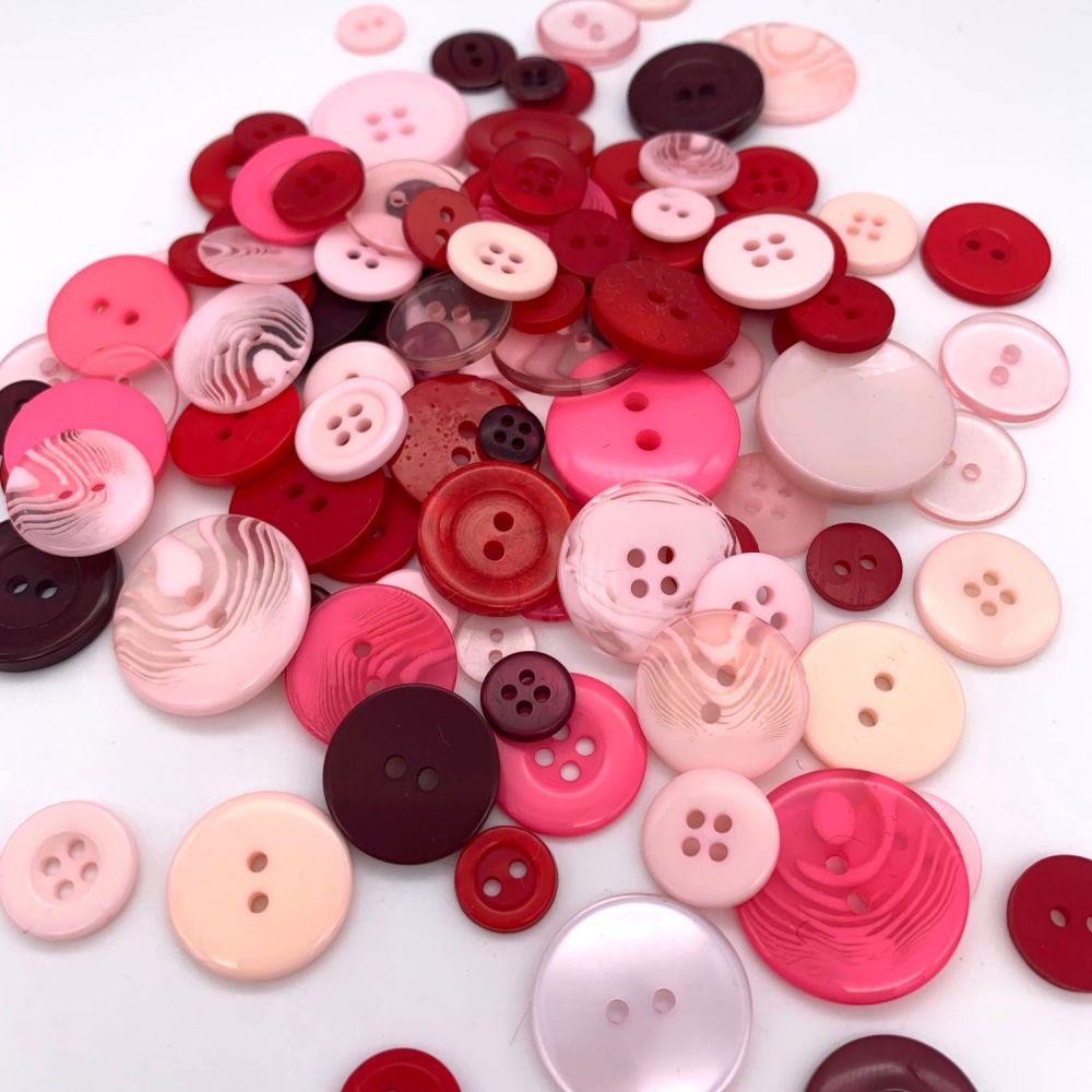 50g Assorted 'Pinks' Button Mix
