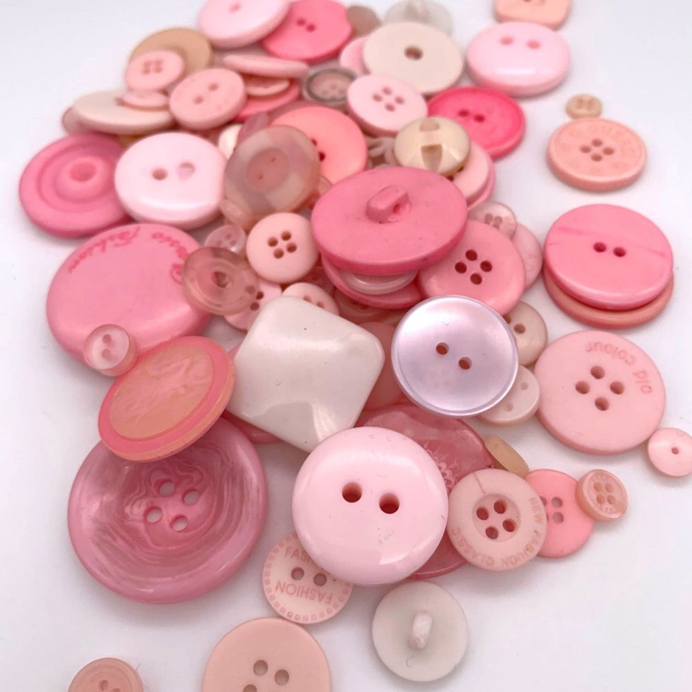 50g Assorted 'Baby Pinks' Button Mix