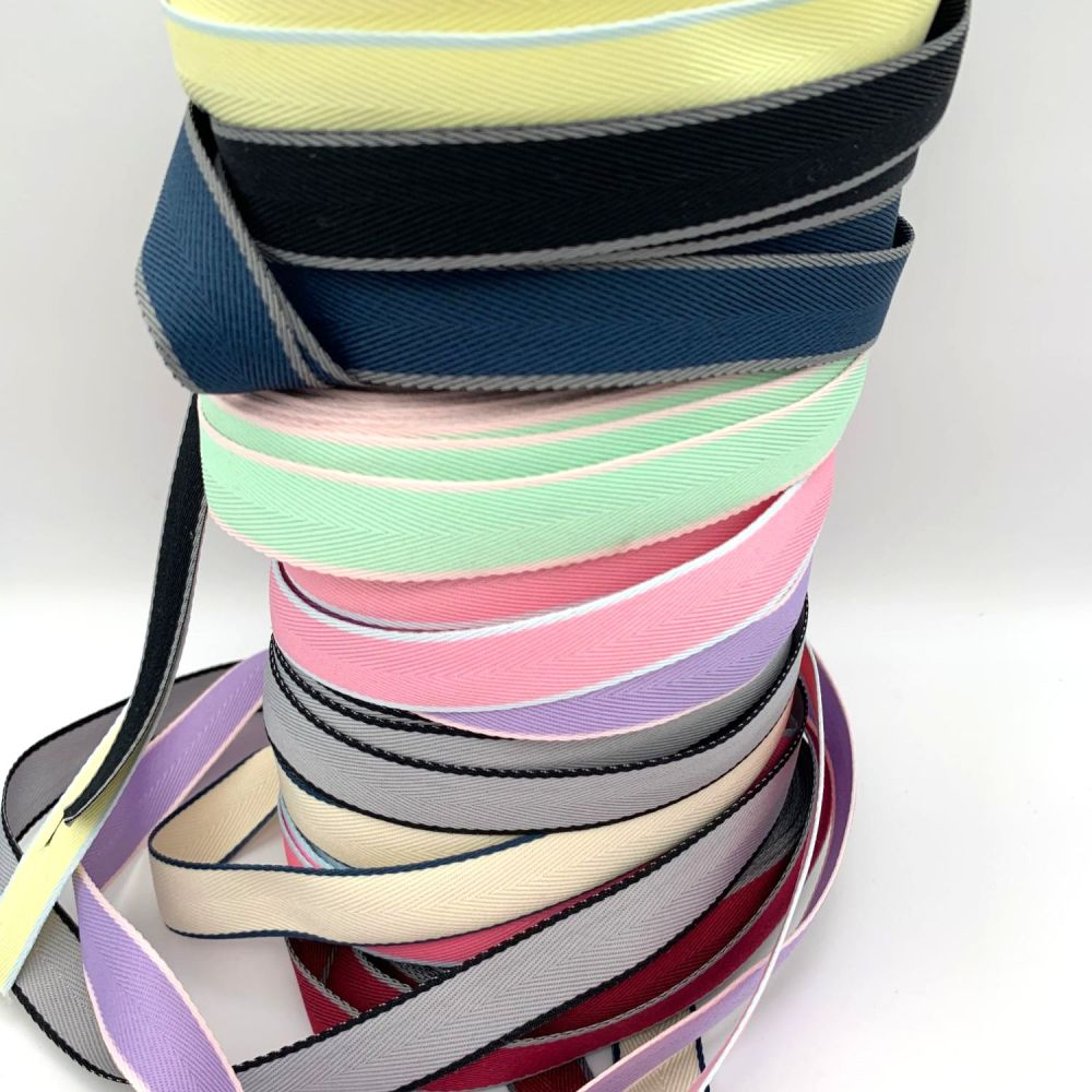 Coloured Edge Twill Cotton Ribbons