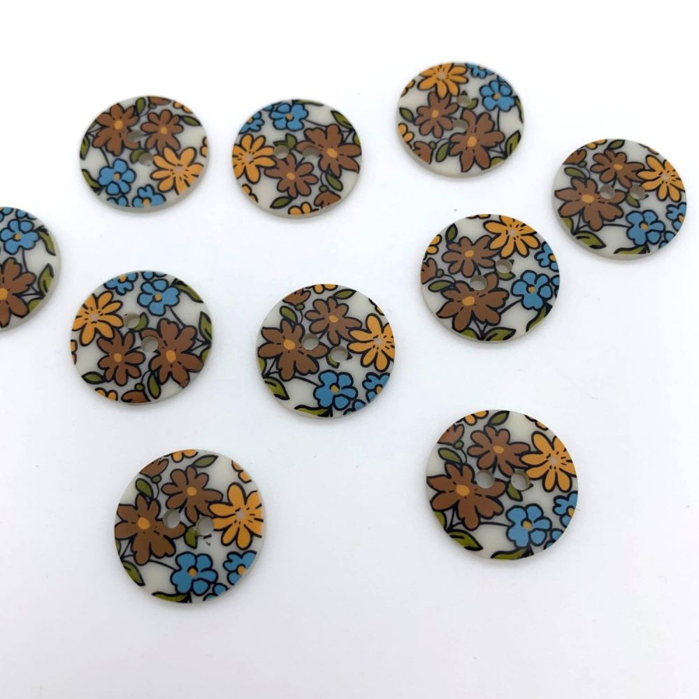 Frou Frou Fleuri Buttons - 18mm