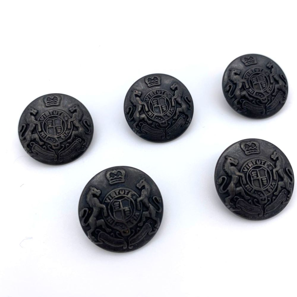 Coat of Arms Gunmetal Black Shank Buttons