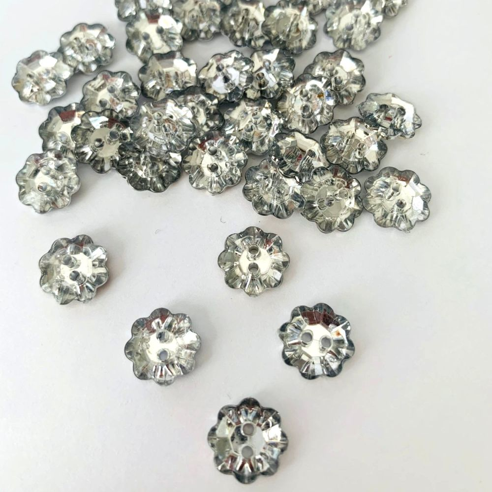 Acrylic Diamante Flower Buttons 11mm