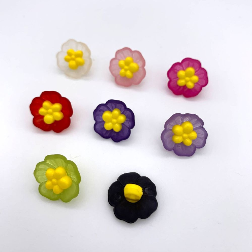 Frosted Flower Shank Buttons
