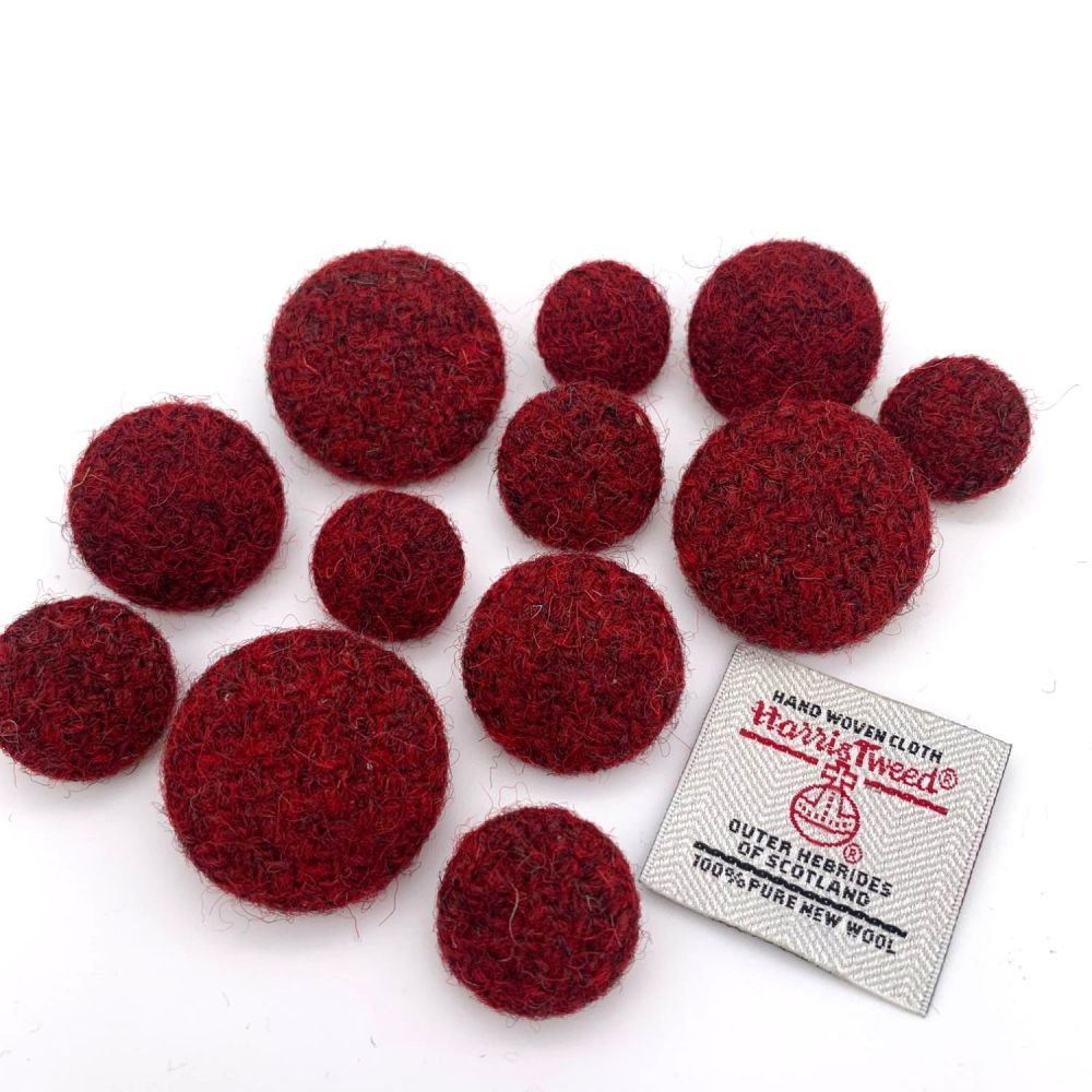 Harris Tweed Buttons - Mottled Red