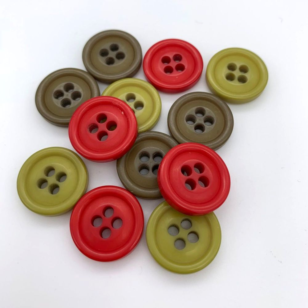 Chunky Rimmed Buttons - 3 colours