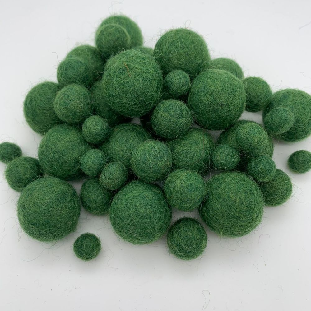 100% Wool Felt Balls - Green Grass