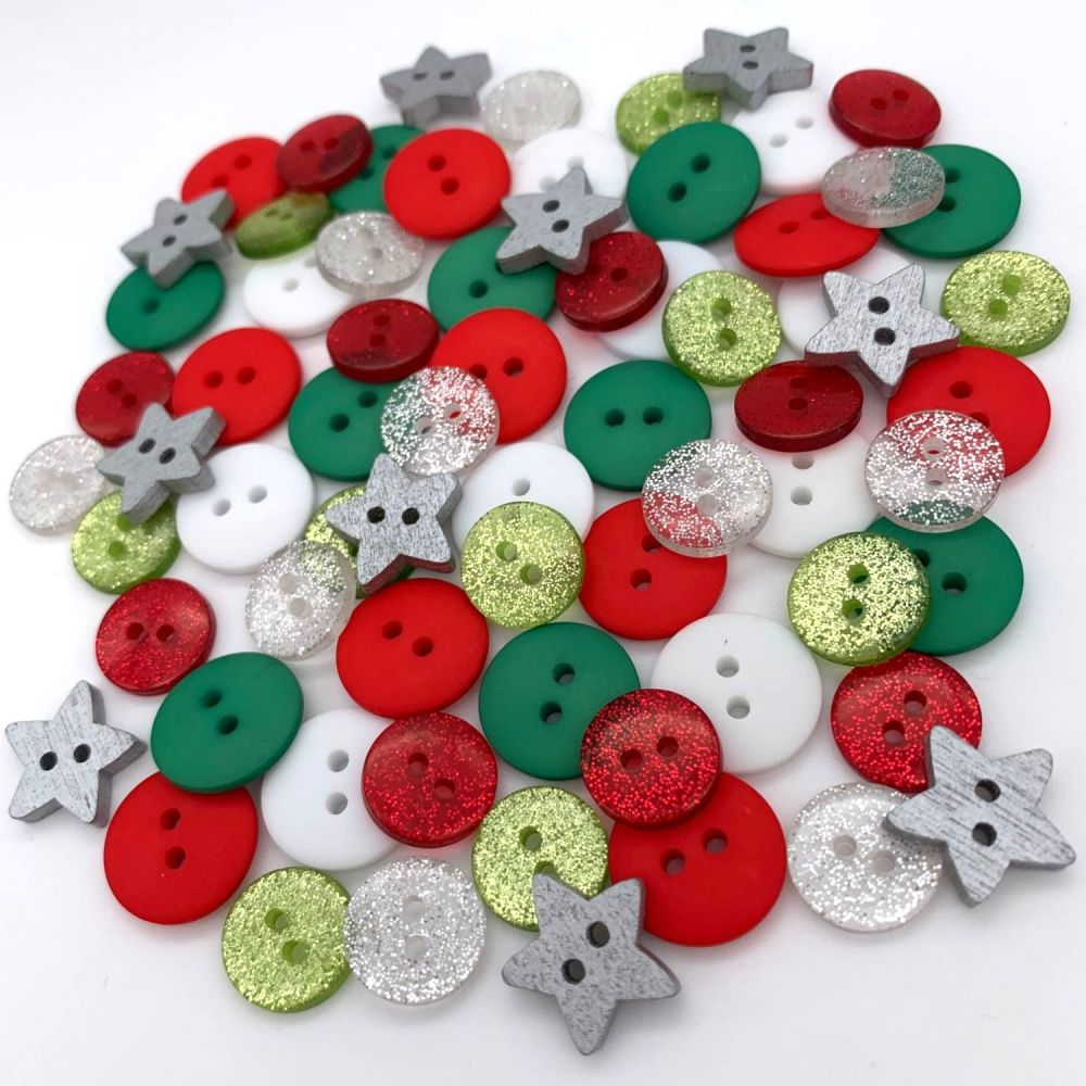 Silver Stars and Glitter Mix Christmas Button Mix