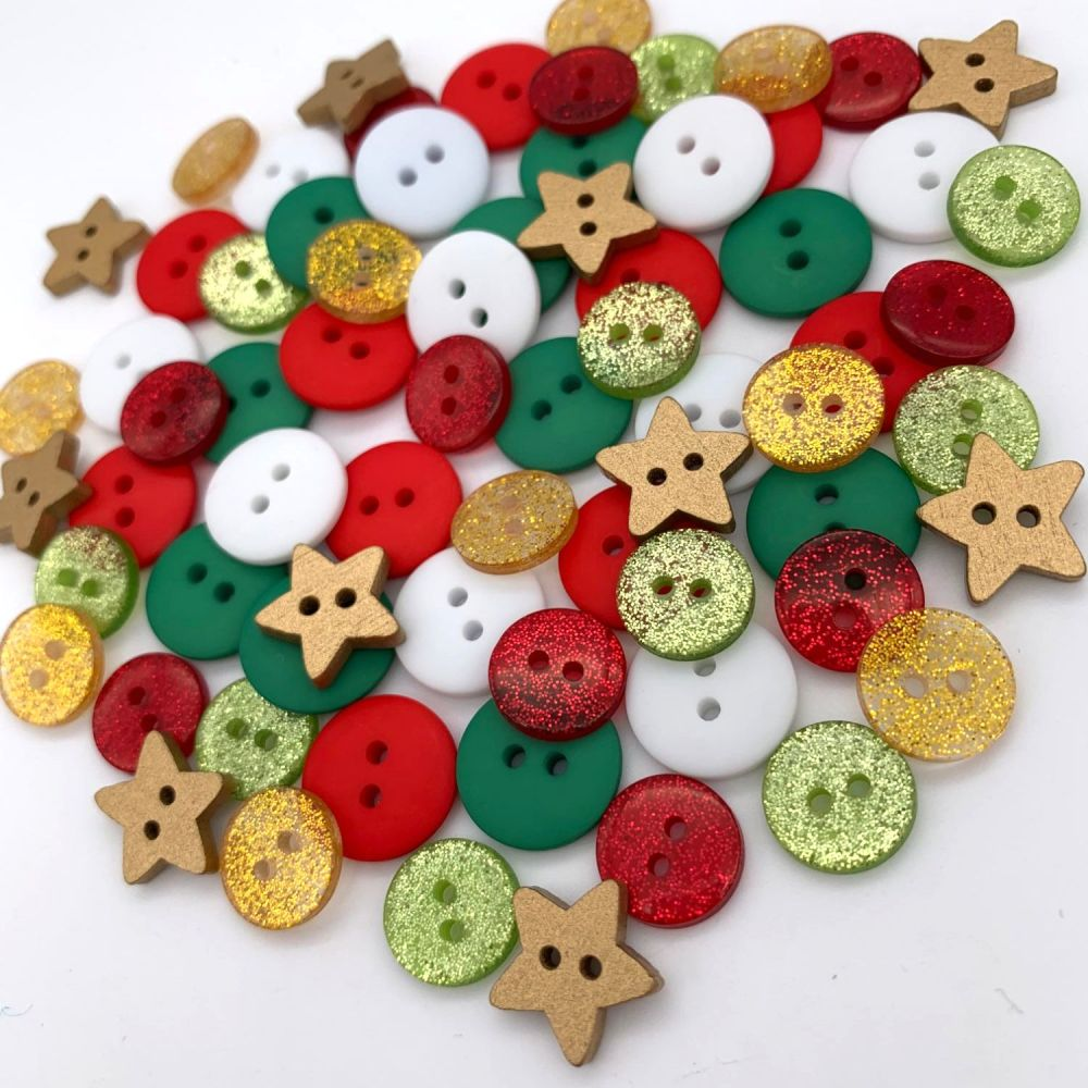 Gold Stars and Glitter Mix Christmas Button Mix