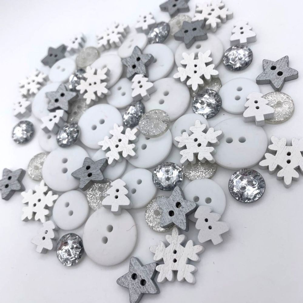 Silver Snow Christmas Button Mix