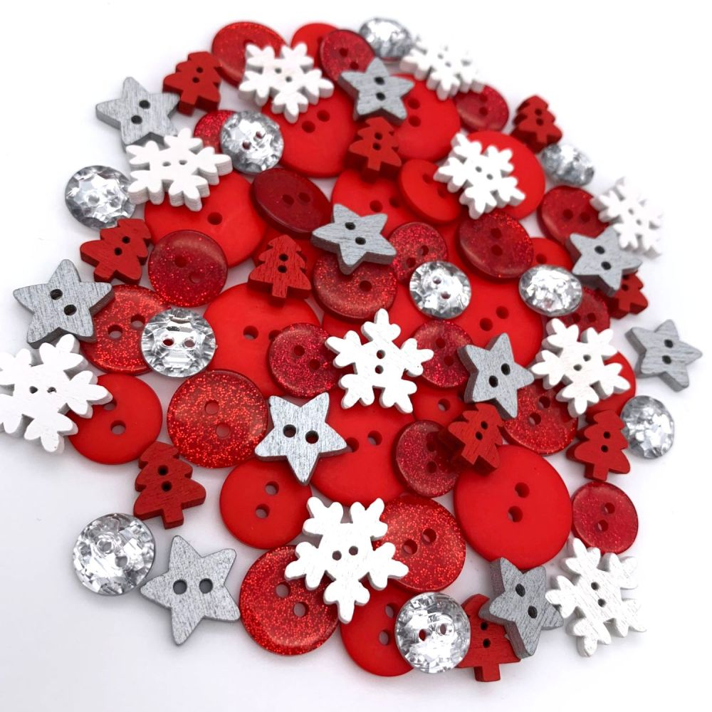 Red and White Snowflake Christmas Button Mix