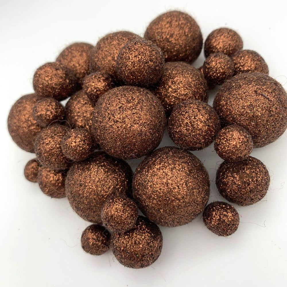 Glitter Felt Balls - Metallic Chocolate - 3 Sizes