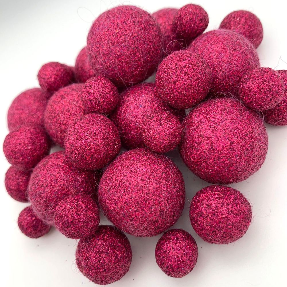 Glitter Felt Balls - Holographic Raspberry - 3 Sizes
