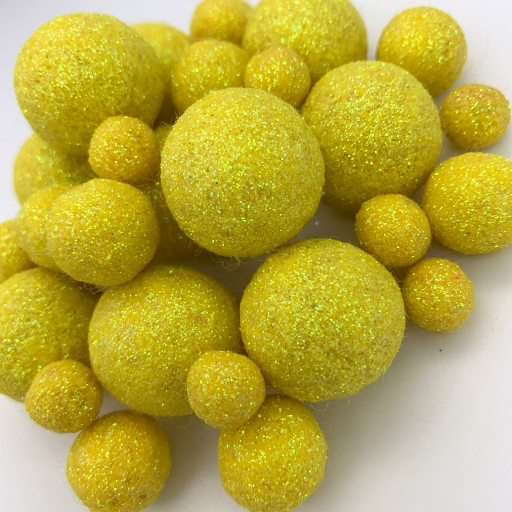Glitter Felt Balls - Iridescent Yellow - 3 Sizes