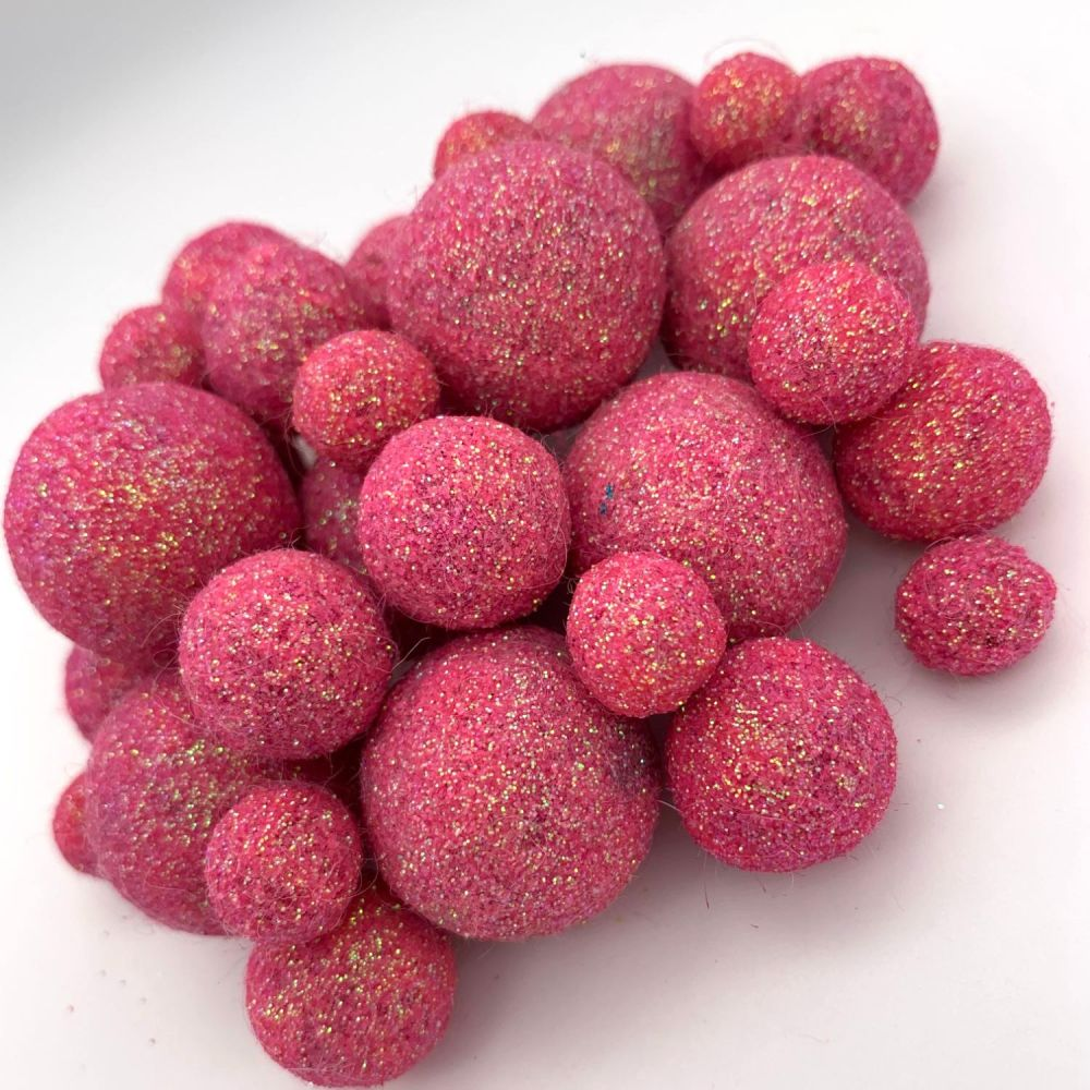 Glitter Felt Balls - Iridescent Hot Pink - 3 Sizes
