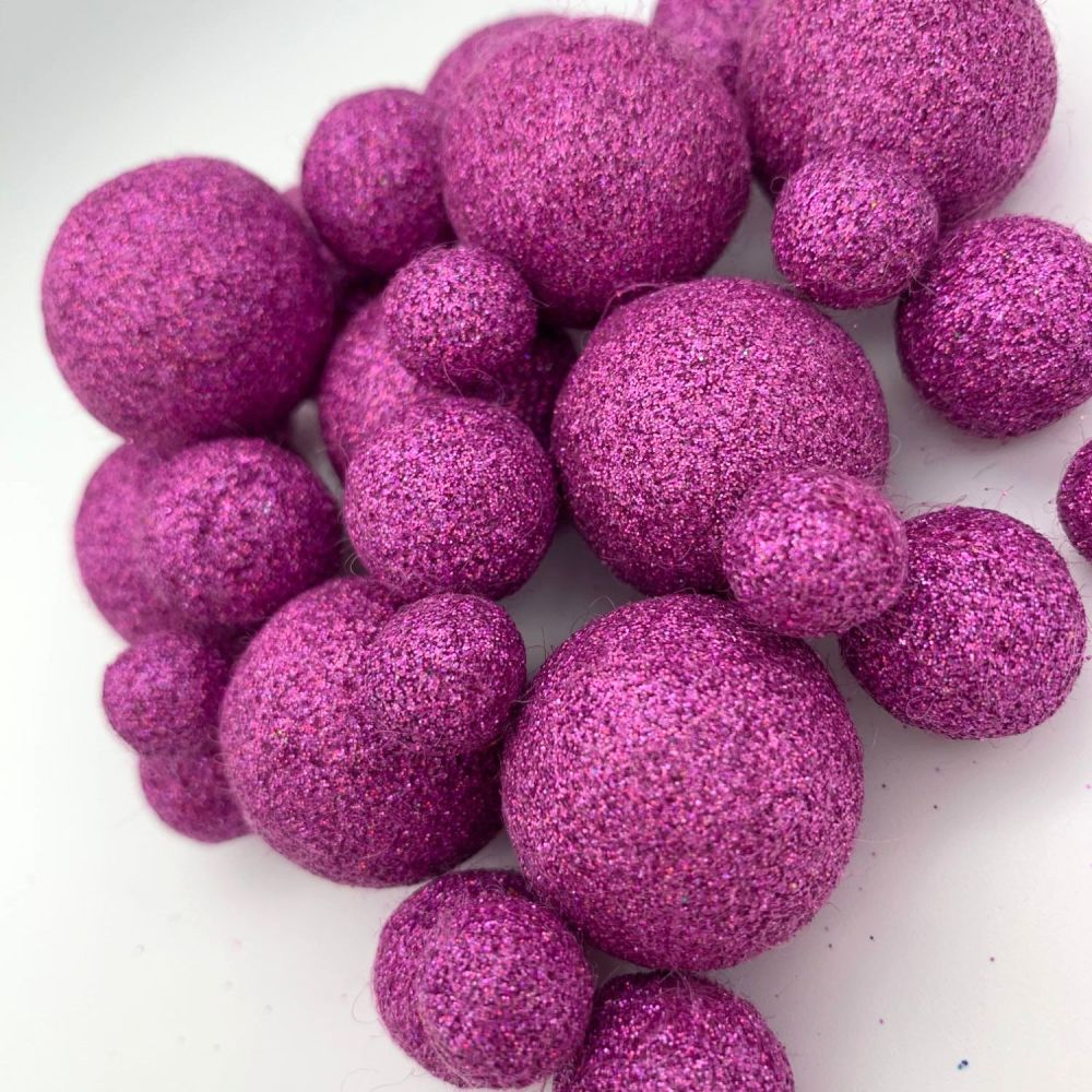 Glitter Felt Balls - Holographic Lilac - 3 Sizes
