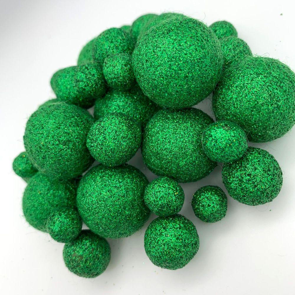 Glitter Felt Balls - Holographic Forest - 3 Sizes