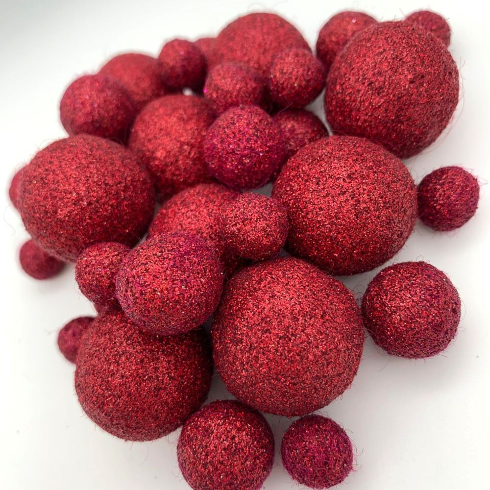 Glitter Felt Balls - Holographic Burgundy - 3 Sizes