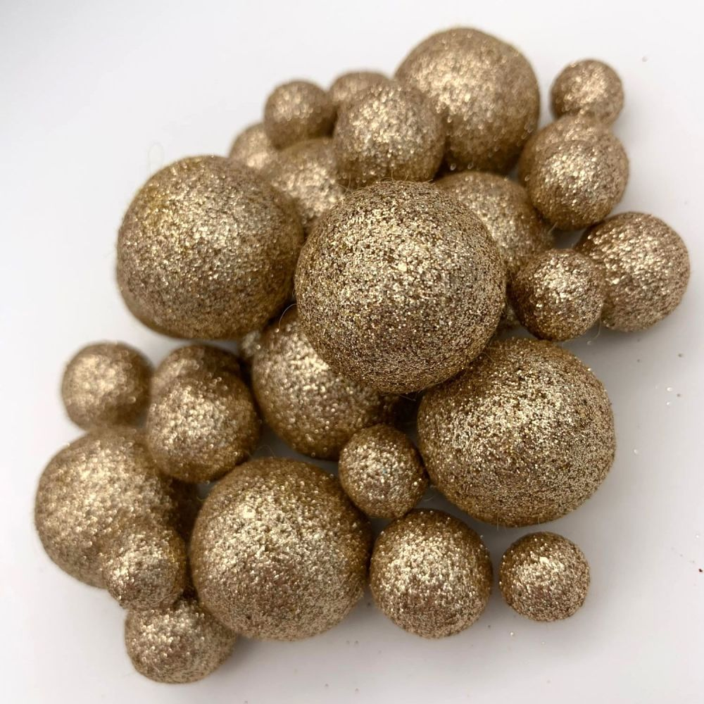 Glitter Felt Balls - Metallic Pale Gold - 3 Sizes