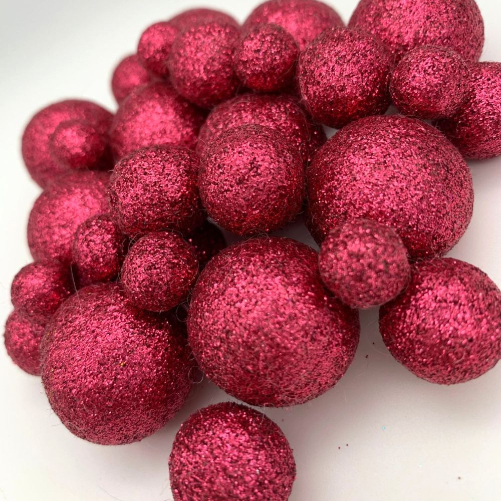 Glitter Felt Balls - Metallic Blush - 3 Sizes