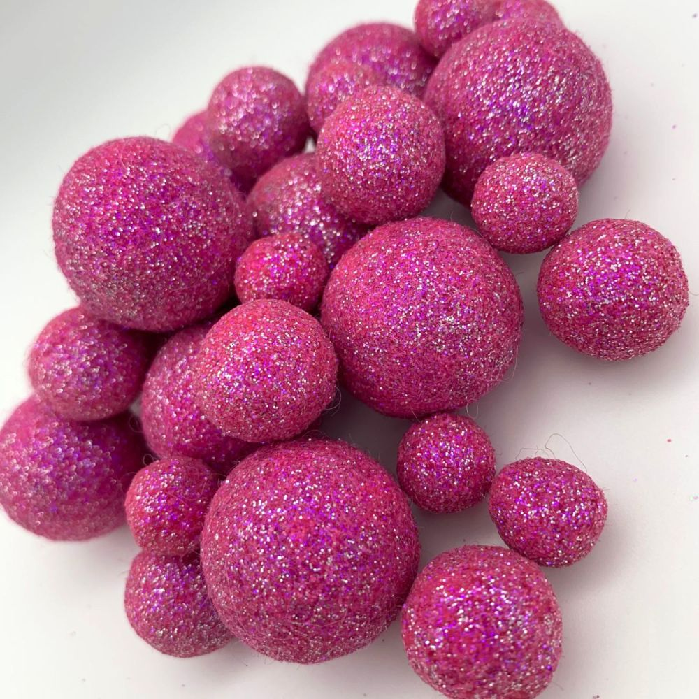 Glitter Felt Balls - Iridescent Fuchsia - 3 Sizes