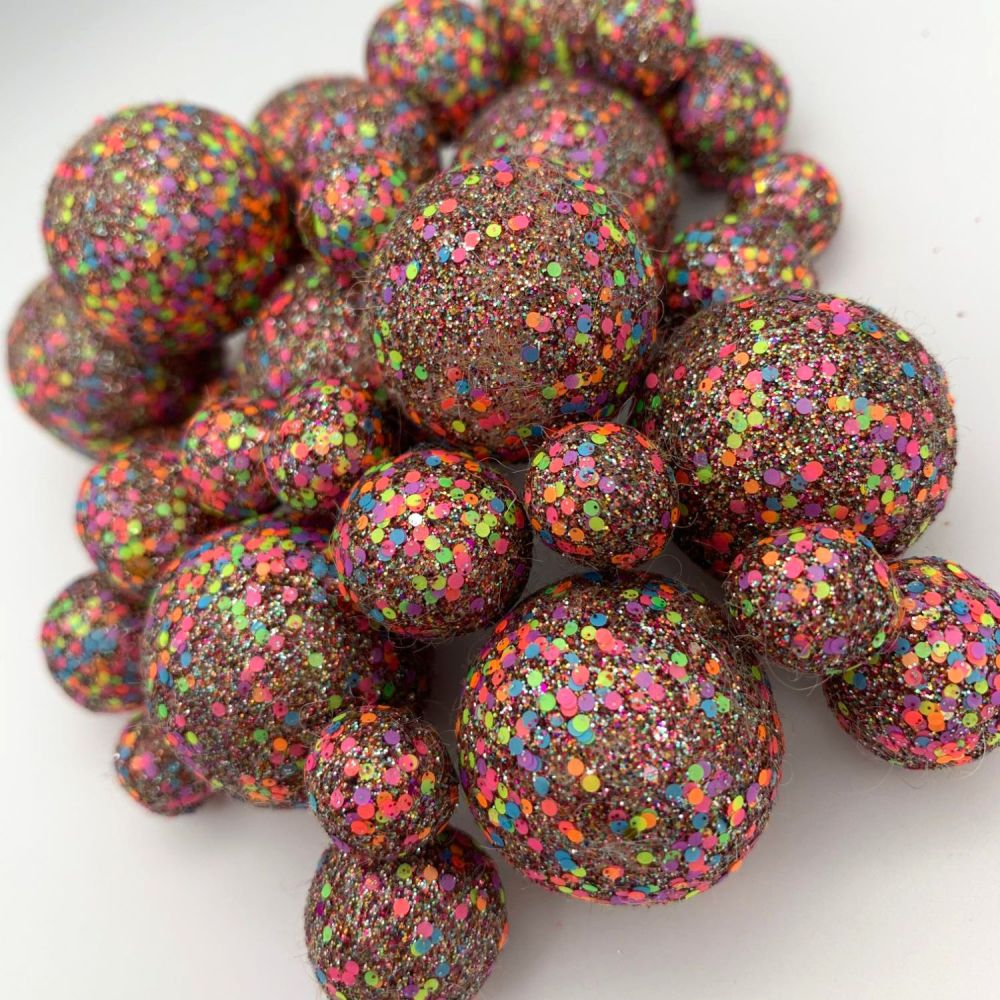 Neon Party Pinks - Special Edition Glitter Felt Balls