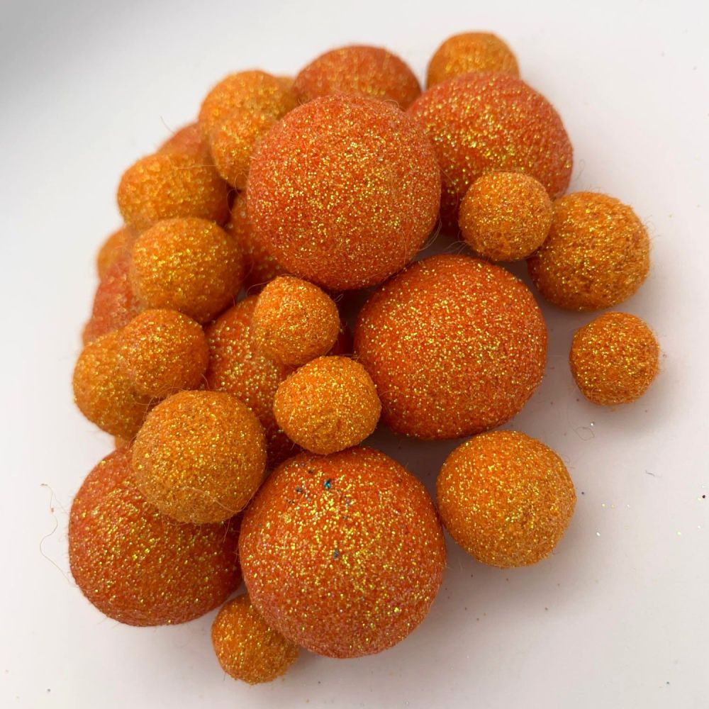 Glitter Felt Balls - Iridescent Orange - 3 Sizes