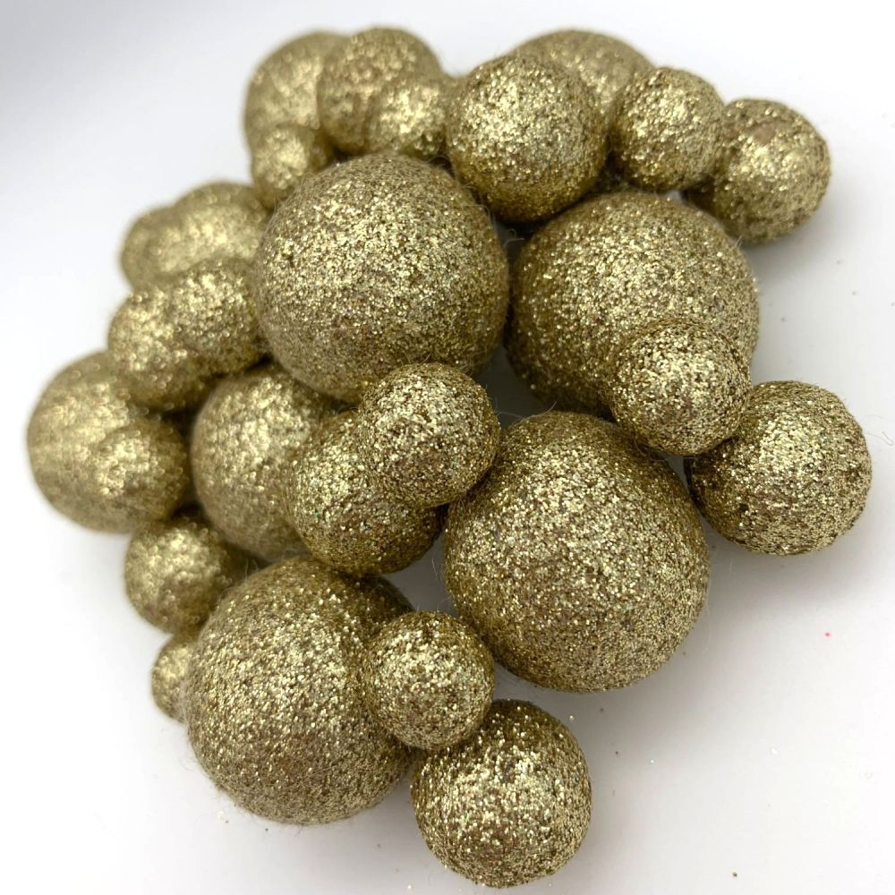 Glitter Felt Balls - Metallic Champagne - 3 Sizes