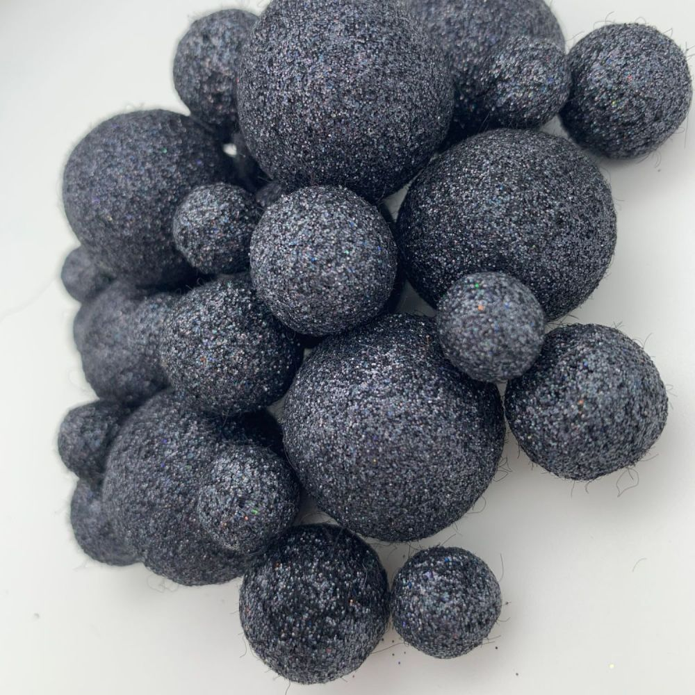 Glitter Felt Balls - Holographic Black - 3 Sizes