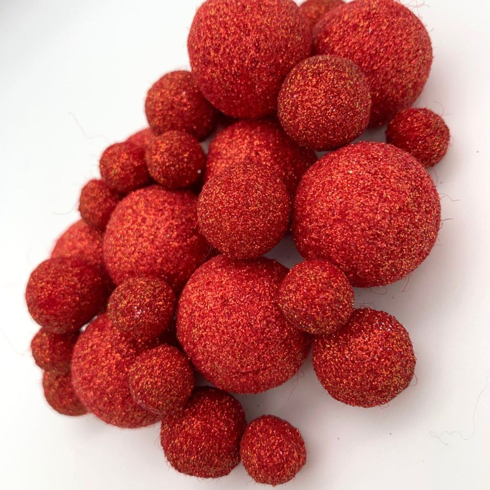 Glitter Felt Balls - Iridescent Red - 3 Sizes