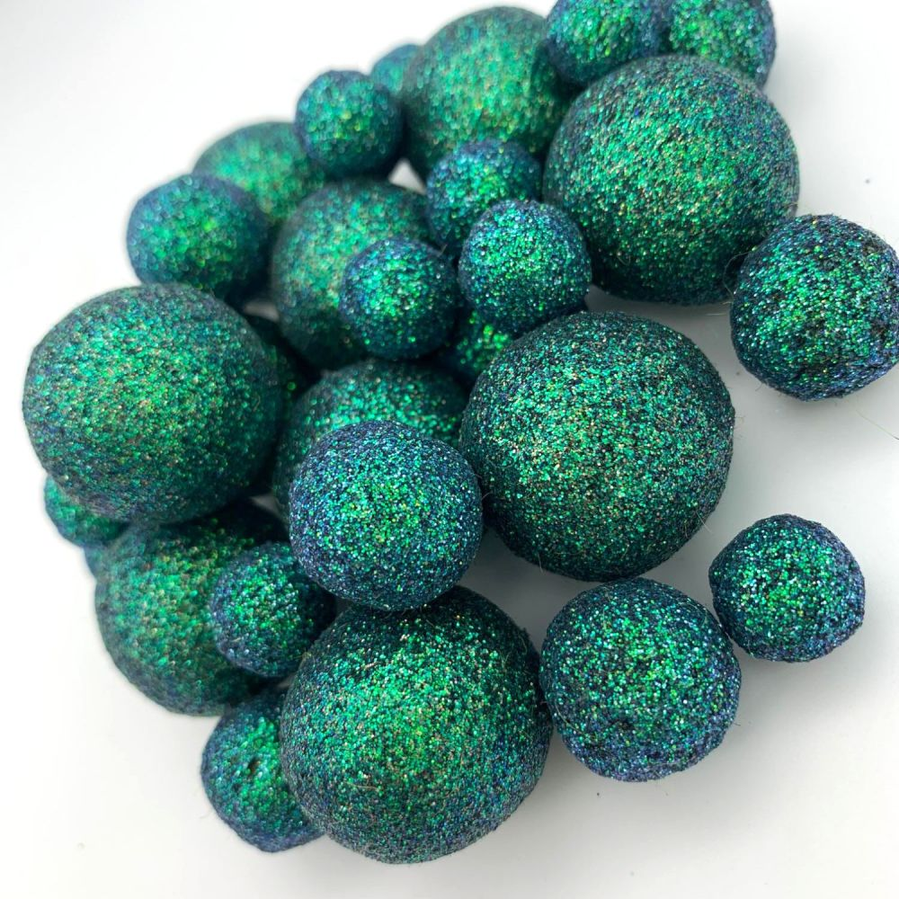 Glitter Felt Balls - Iridescent Olive - 3 Sizes